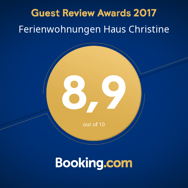 Booking.com Guest Review Award 2017: 8,9 von 10