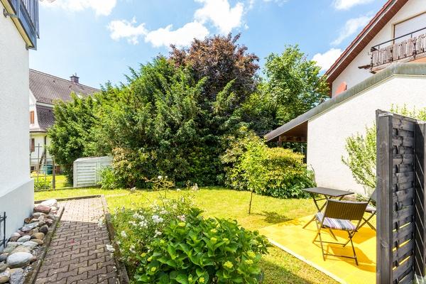 Ferienwohnung im DG: Dachgeschoss - Gartenbereich. Haus Christine am Vogelsang, Ferienwohnungen in Lindau am Bodensee.