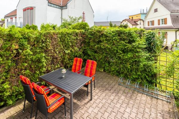 Ferienwohnung im EG: Erdgeschoss - Gartenbereich. Haus Christine am Vogelsang, Ferienwohnungen in Lindau am Bodensee.